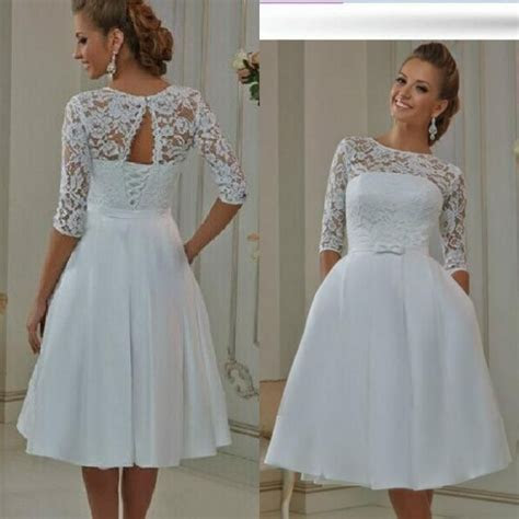 2016 Cheap Tea Length Wedding Dresses Short Sheer Lace