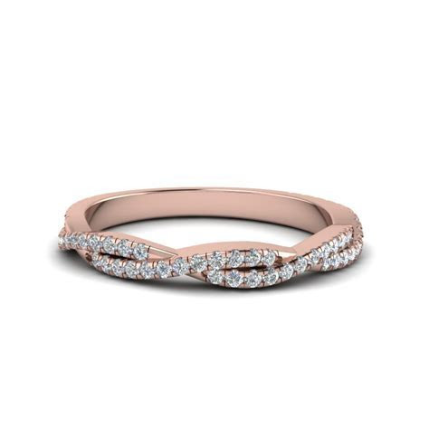 Twisted Vine Delicate Diamond Wedding Band In 18K Rose