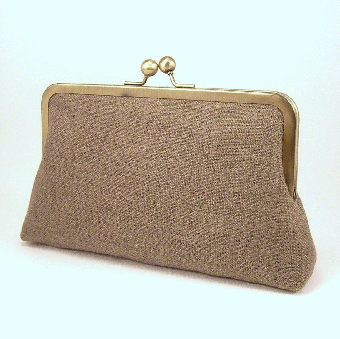 Heavy Linen - Taupe - Silk-lined clutch