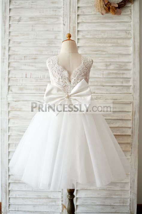 Princess V Back Ivory Lace Tulle Wedding Flower Girl Dress