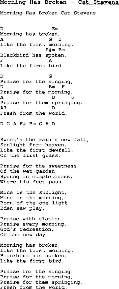 Morning Has Broken Hymn Lyrics Cat Stevens