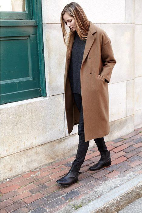 Le Fashion Blog Drop Shoulder Long Camel Coat Oversize Sweater Block Pants Leather Ankle Boots Via Emerson Fry