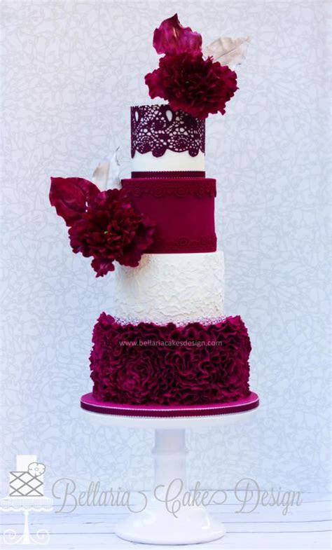 Burgundy ruffles wedding cake by Bellaria Cake Design