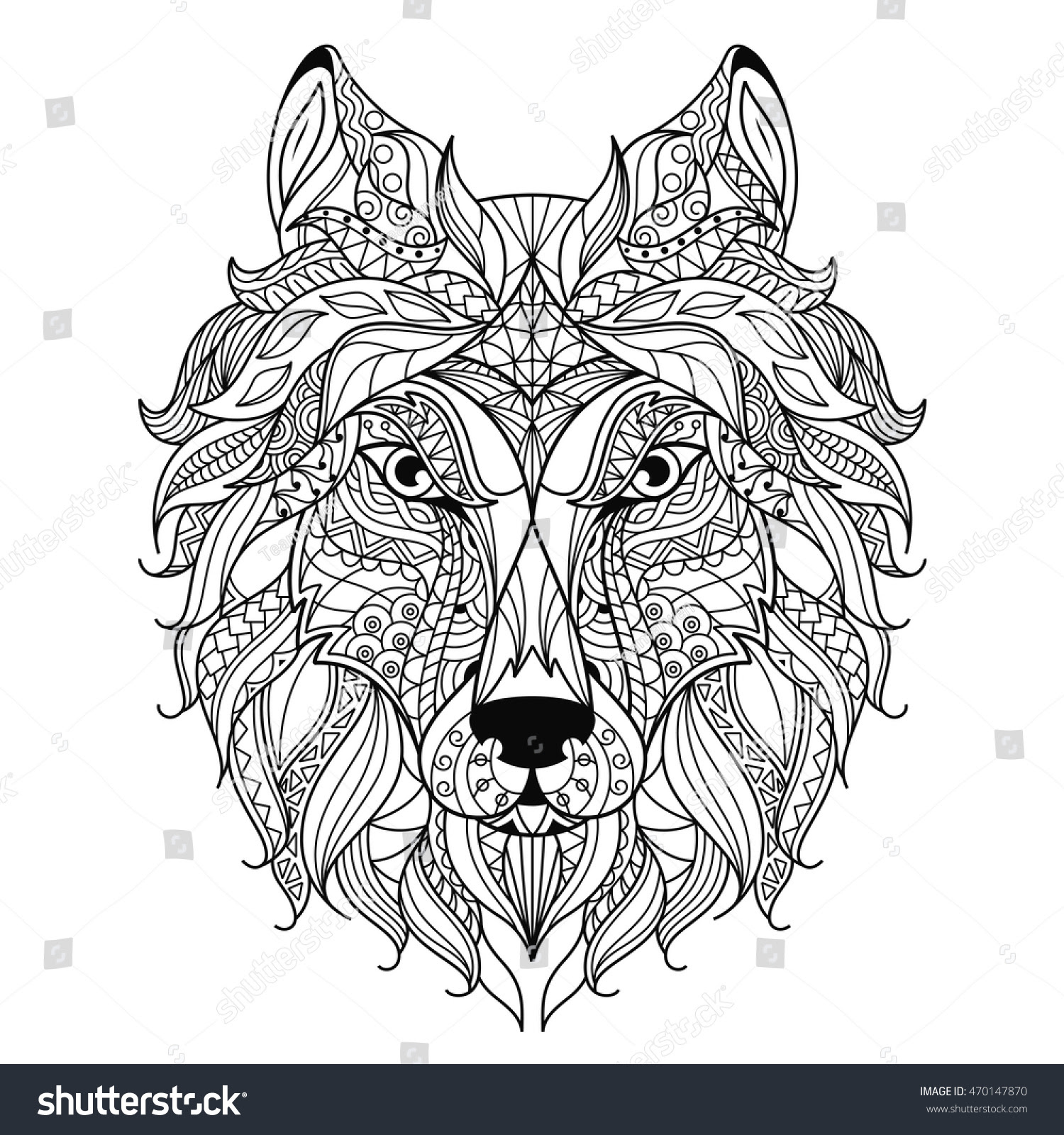 Wolf Head Zentangle Stylized, Coloring Page. Stock Vector ...