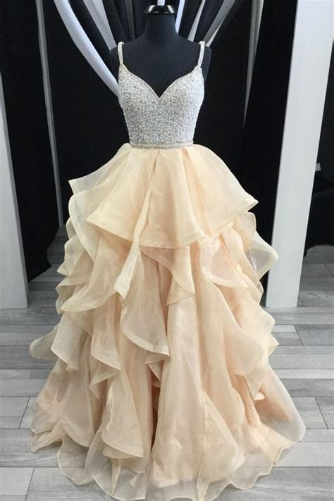 Champagne Straps V neck Beading Tulle Long Prom Dress with