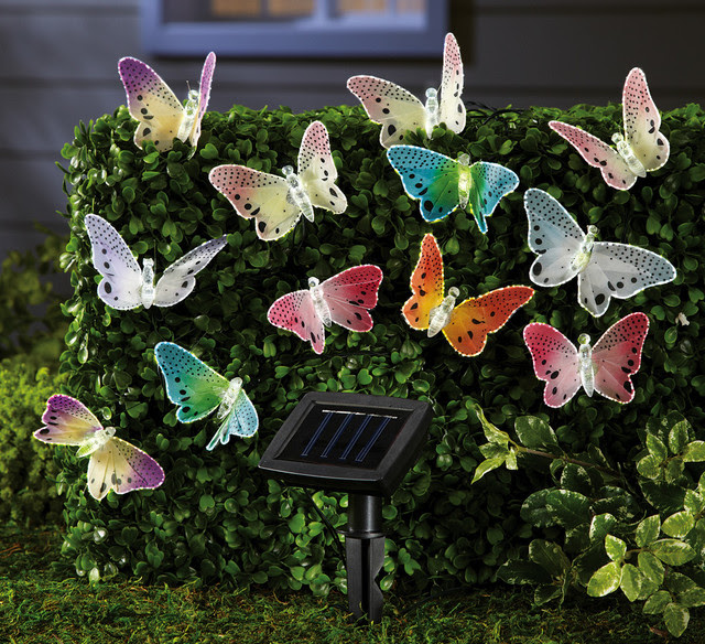 Solar Fiber Optic Butterfly String Lights - contemporary - outdoor