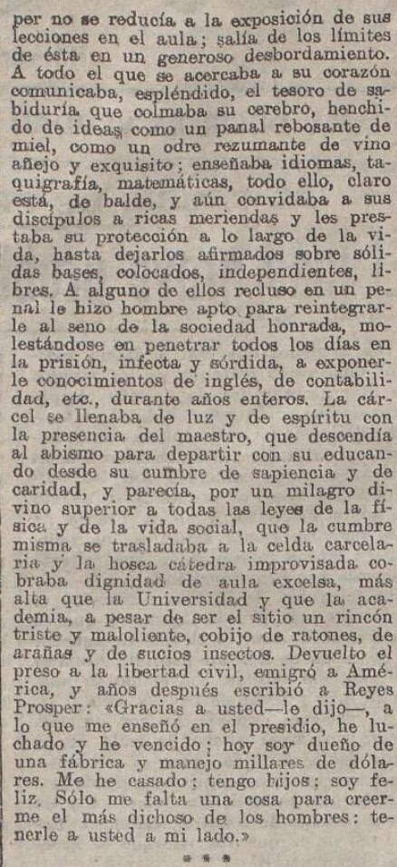 """Elegía a Ventura Reyes Prósper por Alberto de Segovia titulada """"Elegía en mala prosa"""" publicada en La Acción el 20 de diciembre de 1922 (IV)"""