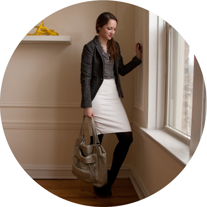white pencil skirt outfit, club monaco pencil skirt, gray and white outfit, ootd, what to wear with, work outfit ideas, business casual, wear to work, black tights, gray wedges