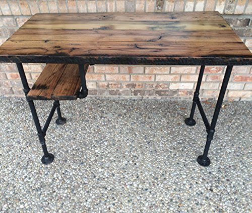 Reclaimed Wood Desk Table  Rustic Solid Oak W\/ 28\u0026quot; Black Iron Pipe legs.  Driftwood Furnitures