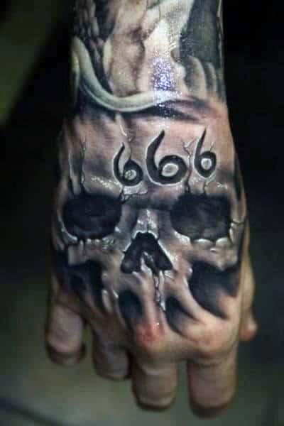 80 Skull Hand Tattoo Designs For Men Manly Ink Ideas