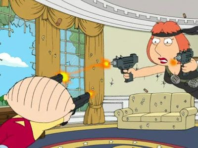 Stewie and Lois battle it out in a 2007 episode of FAMILY GUY.