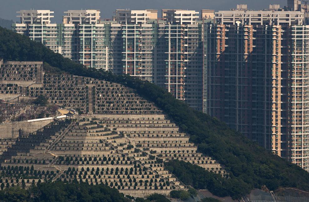 Могилы на склонах холма перед жилыми домами в Гонконге