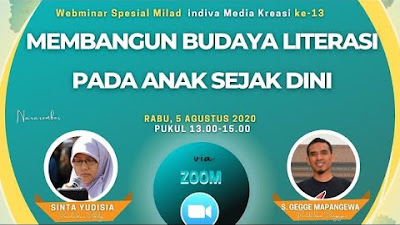 Bertabur Ilmu Dari Mbak Sinta Yudisia dan Daeng Gegge Mappangewa di Seminar Online Milad Indiva Media Kreasi