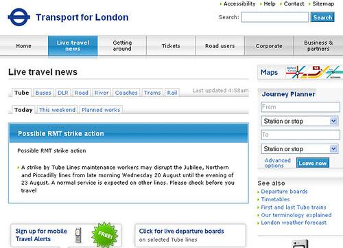screengrab of TfL website