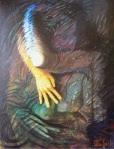 """Bruno Steinbach. """" Abraço"""". Óleo/duratex, 117x89 cm, 2000, Camboinha, Cabedelo, Paraíba, Brasil. Coleção do Artista, João Pessoa-Pb. Catálogo 98."""