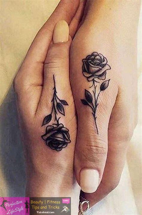 cool unique black single rose finger hand tattoo ideas