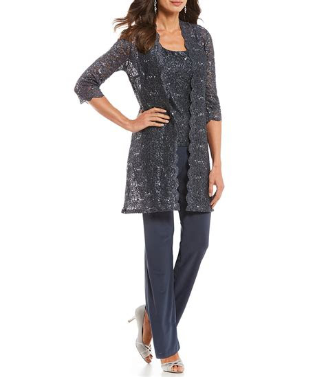 rm richards  piece sequin glitter scallop lace duster