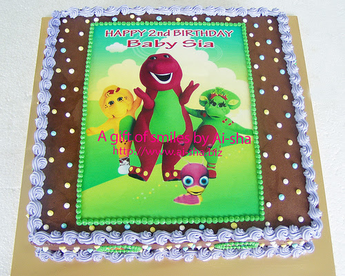 Birthday Cake Edible Image Barney and Tulli