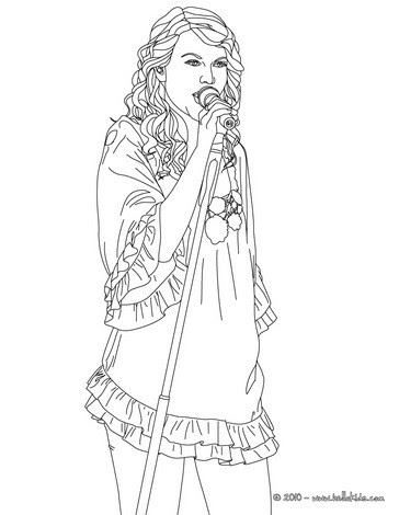 Taylor Swift Singing Coloring Pages Hellokidscom