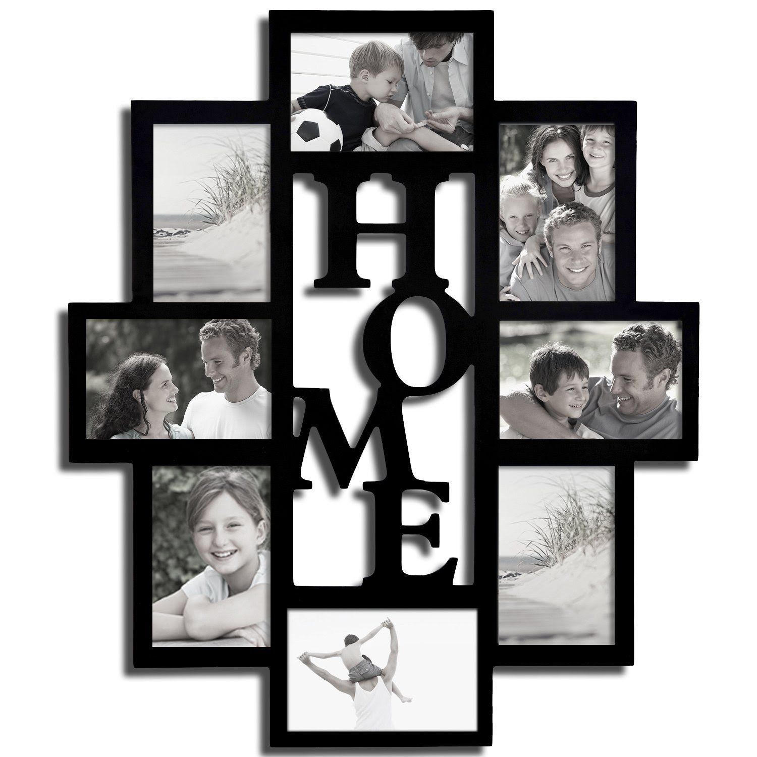 Adeco Adeco Black Wooden 8 Opening Home Collage Picture Frame Black