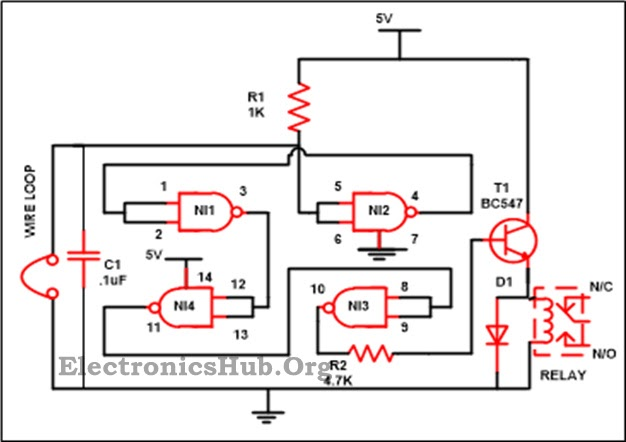 Logic Gates Luggage Security Alarm Project Circuit