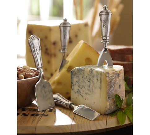 I prefer the real thing over fake, any day, but Pottery Barn nailed it with this set of 4 Antique-Silver Cheese Knives