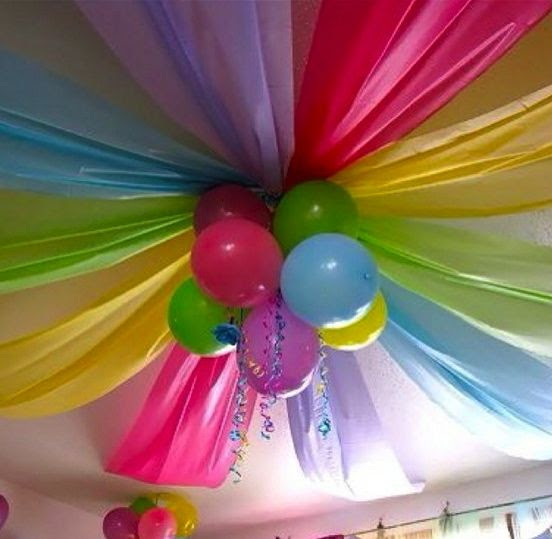 plastic tables clothes & some balloons