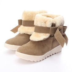 Women Bowknot Faux Fur Lined Comfort Flats Warm Snow Ankle Boots