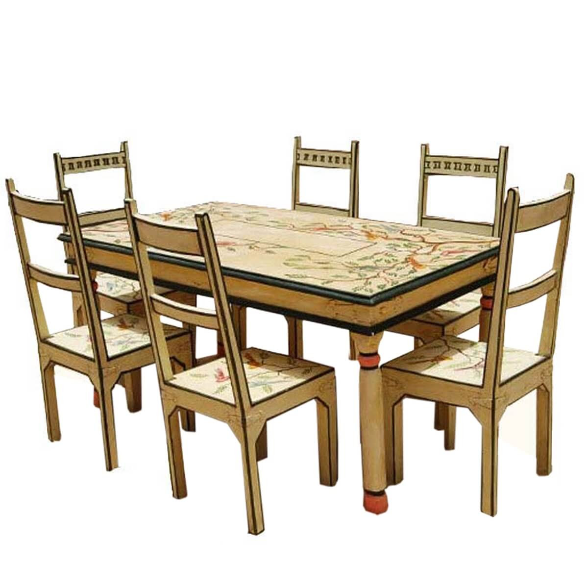 Birds of Paradise Hand Painted 7Pc Country Dining Table and Chair Set