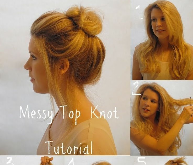Slices Of Pink Messy Top Knot Tutorial
