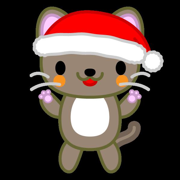 ソフトタッチでかわいい立っている猫クリスマスverの無料イラスト