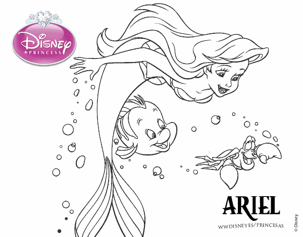 Colored page The Little Mermaid - Ariel, Flounder and ...