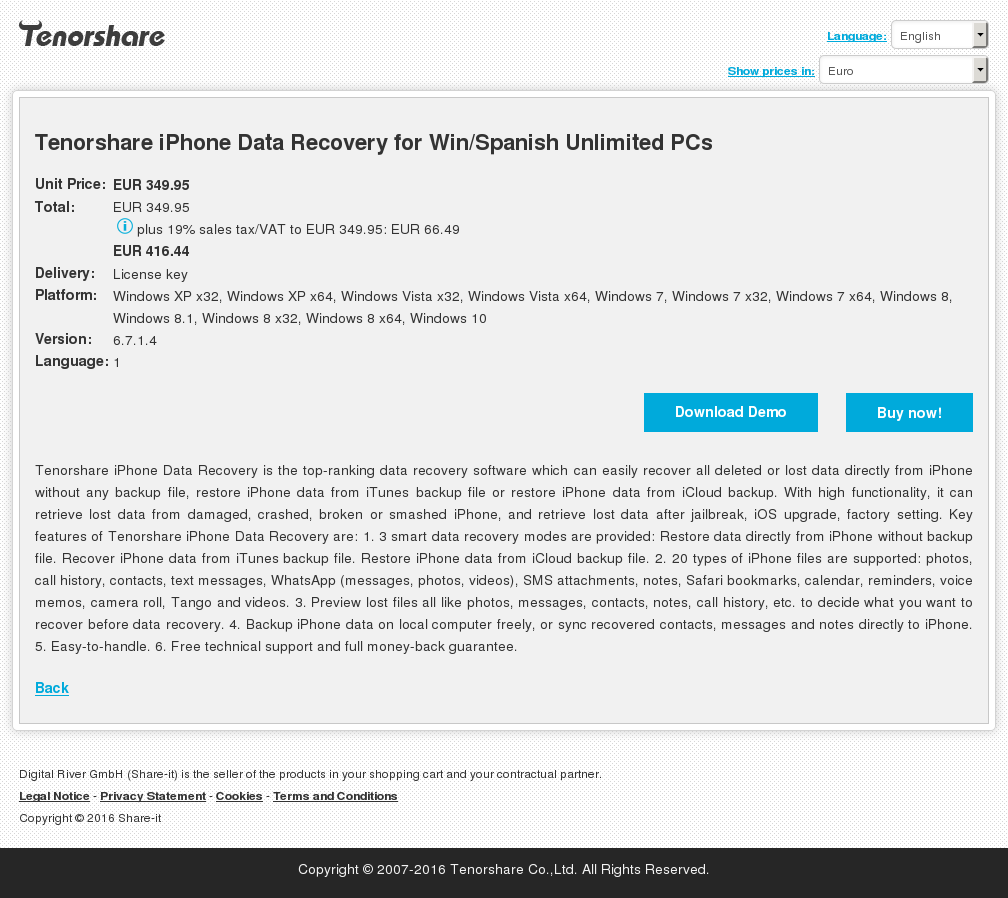 Tenorshare iPhone Data Recovery for Win\/Spanish Unlimited PCs  Licenses and Reviews