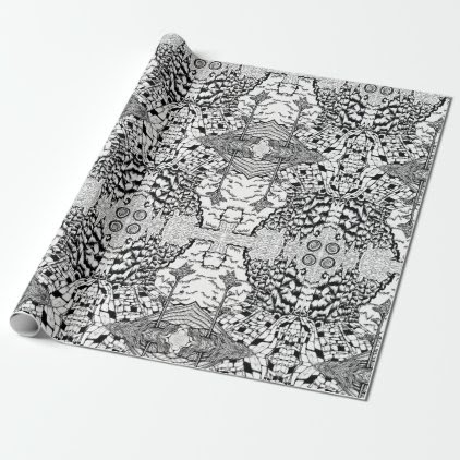 Black & White Nature Drawing Wrapping Paper