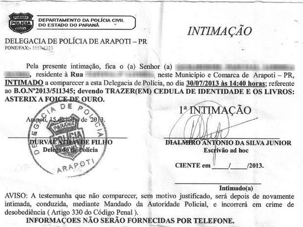 A intimidação em nome do adolescente foi recebida por um pedreiro que prestava serviço na casa da família (Foto: Reprodução)
