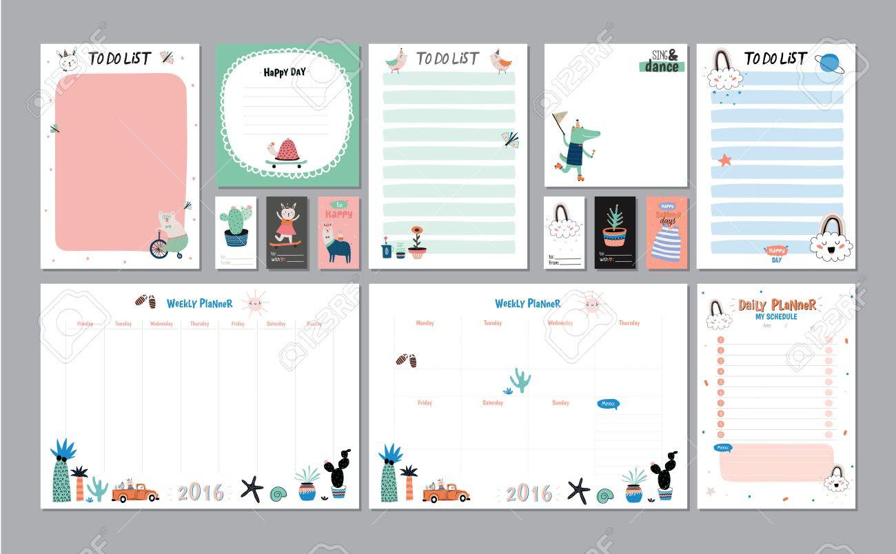 Scandinavian Settimanale E Daily Planner Modello. Organizzatore E ...