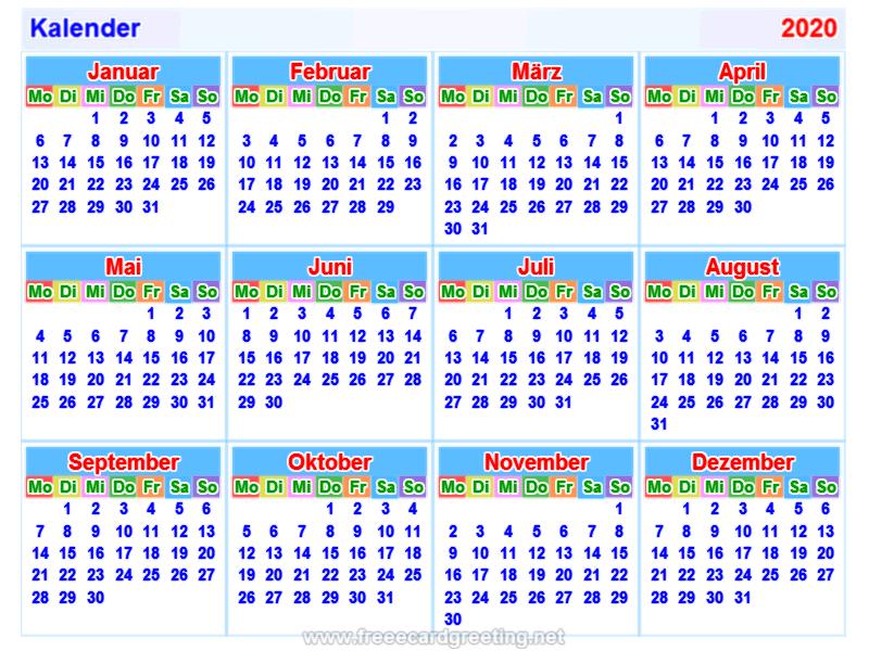 calendar 2020_german