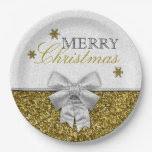 Glittery Gold/Silver Snowflakes 9 Inch Paper Plate