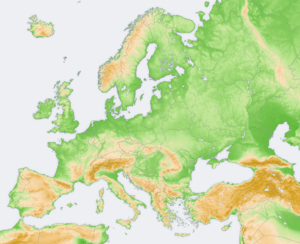 A map of Europe using elevation modeling