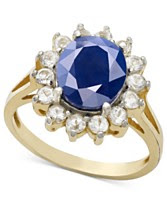 Victoria Townsend 18k Gold Over Sterling Silver Ring, Sapphire (3 ct. t.w.) and White Topaz (7/8 ct. t.w.) Ring