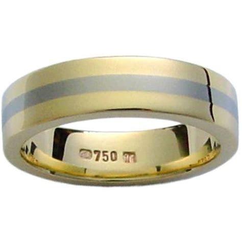 Titanium 18 Yellow Gold and Titanium Band : Wedding Bands