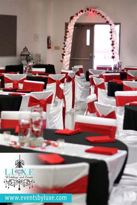 Red, Black And White Wedding Ceremony And Backdrop Decor