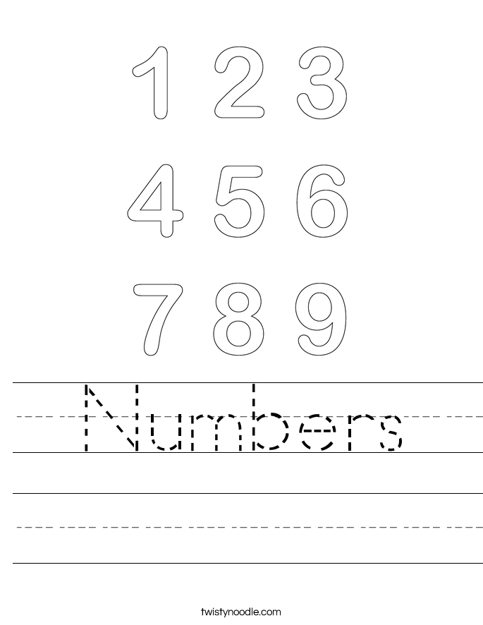 Numbers Worksheet - Twisty Noodle