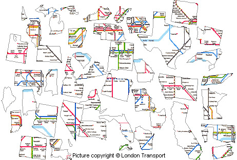 Tube Map Jigsaw US State Version