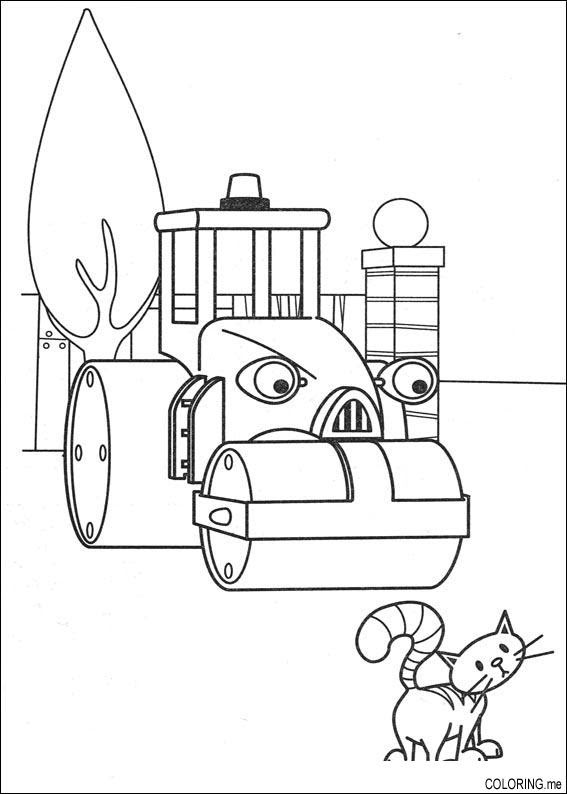 Coloring page : Bob the builder : cat and machine ...