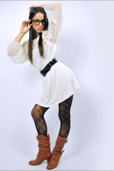 tights with dress and boots
