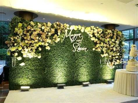 Greenery and floral wall wedding backdrop   Interactive