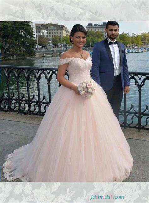 H1645 Blush pink colored princess wedding dress with off