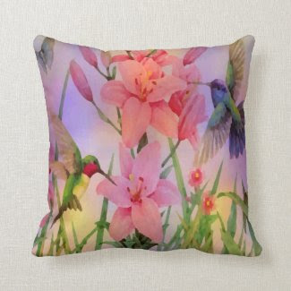 Painterly Hummingbirds And Flower Pillow