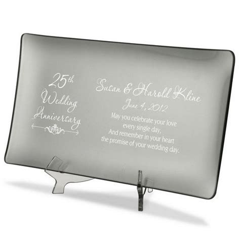 25th Wedding Anniversary Personalized Silver Glass Tray